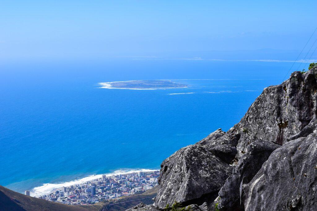 Udsigt til Robben Island fra Table Mountain