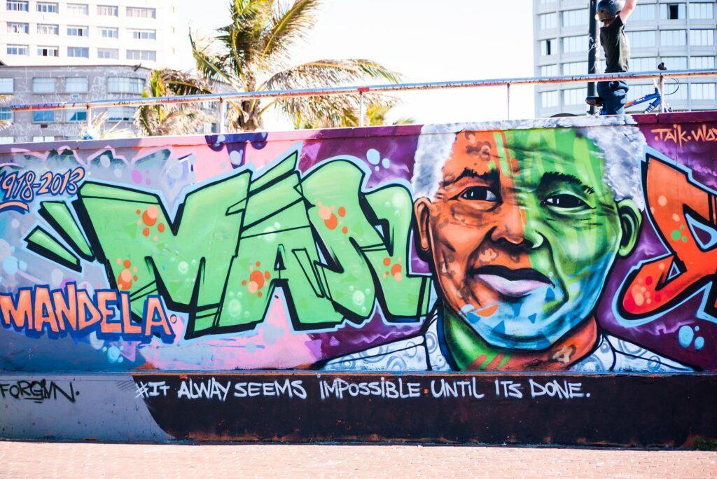 Mur i Durban - Mandela fylder